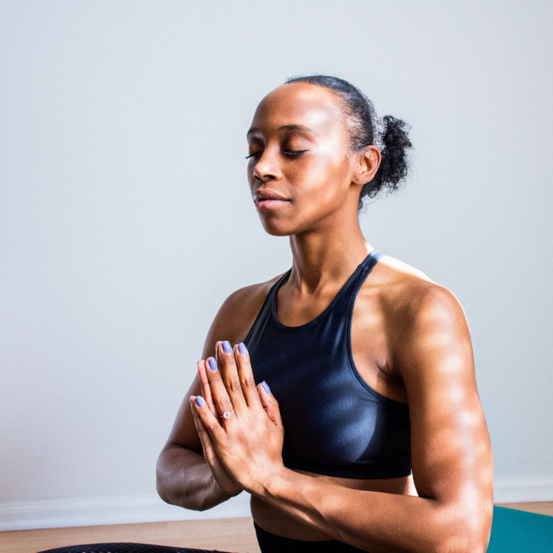 Woman meditating in yoga position