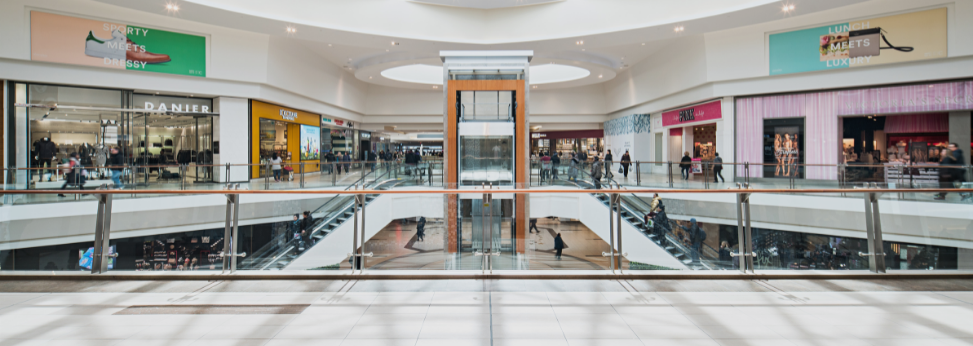 Blurred mall corridor