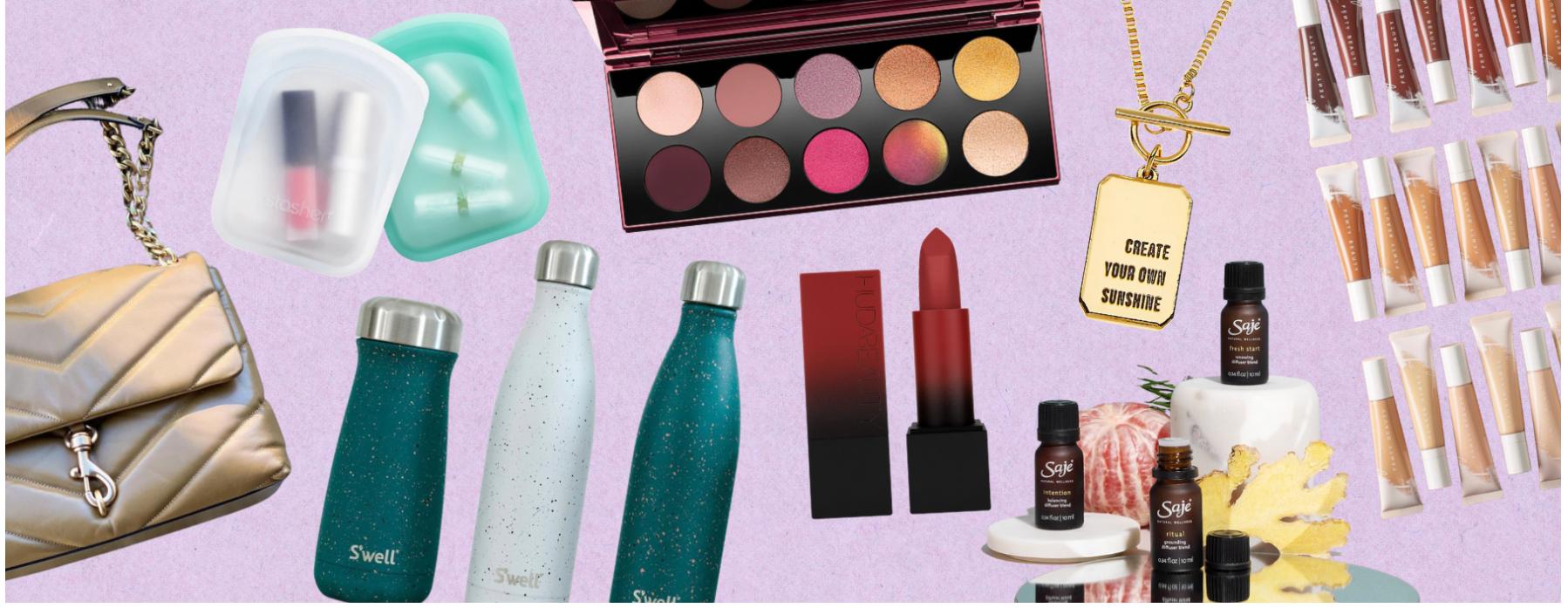 Purse, makeup, water bottles, Saje rollons
