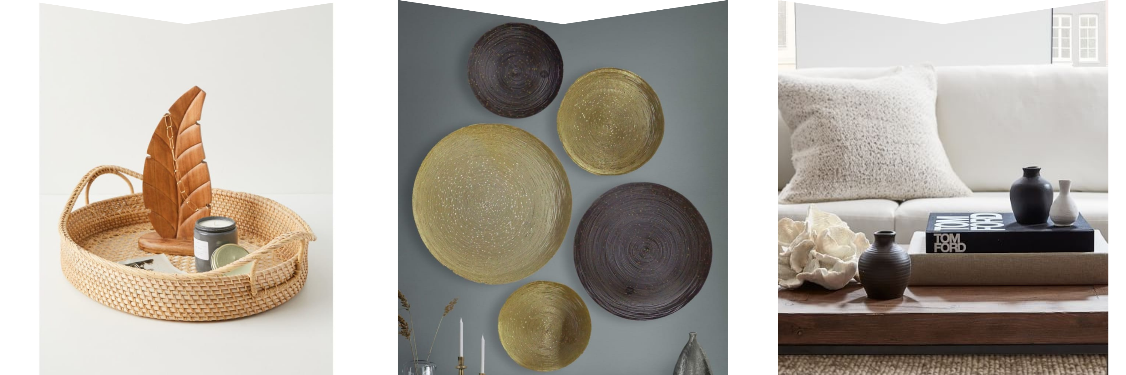 Oval rattan tray, wall plate decor, Tom Ford coffee table book