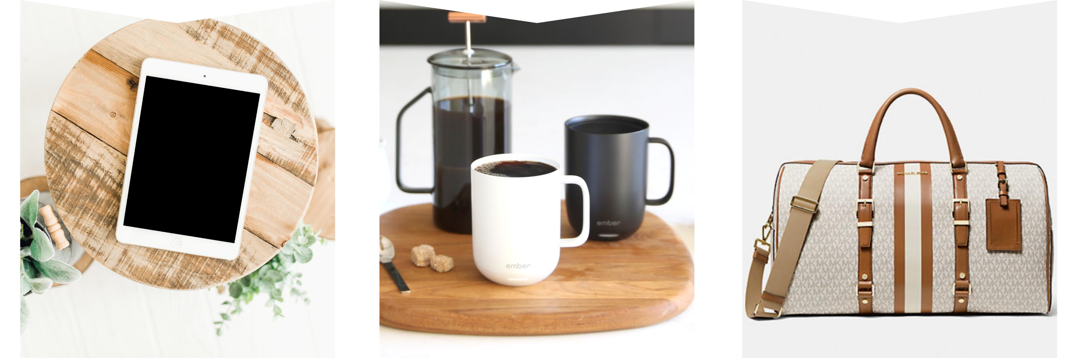 iPad, temperature control mug & Michael Kors duffle bag