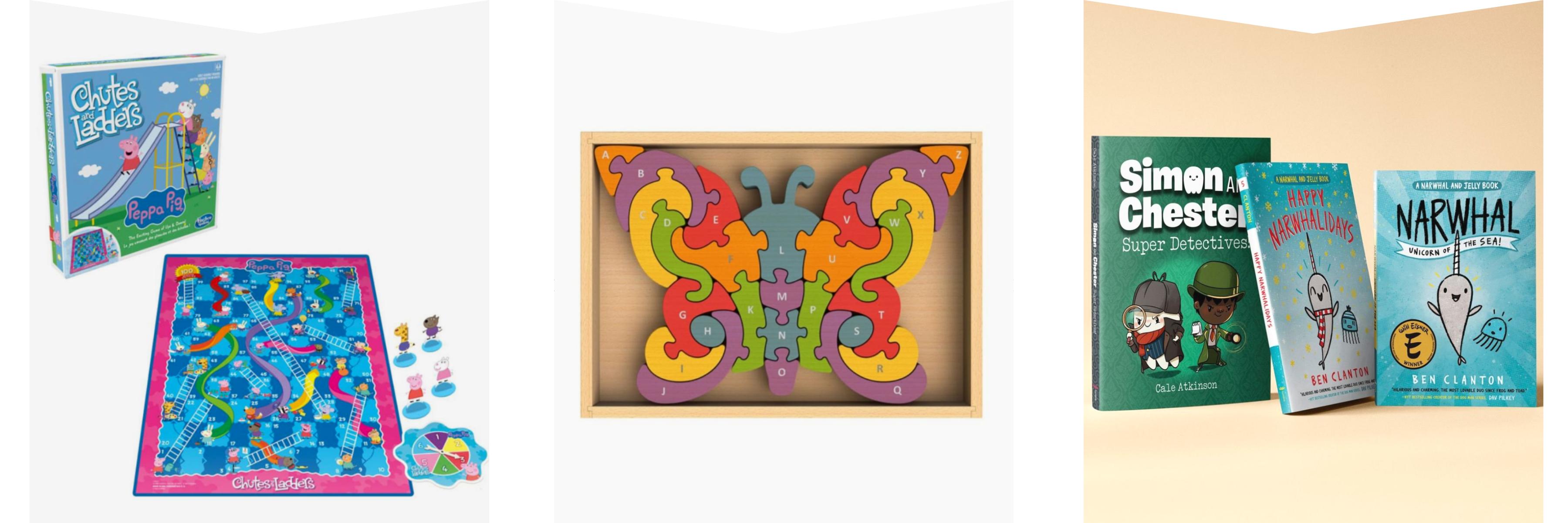 Board games, wooden puzzle & children's books